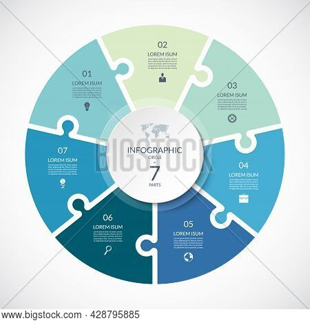 Vector Infographic Puzzle Circular Template. Cycle Diagram With 7 Parts, Options. Can Be Used For Ch