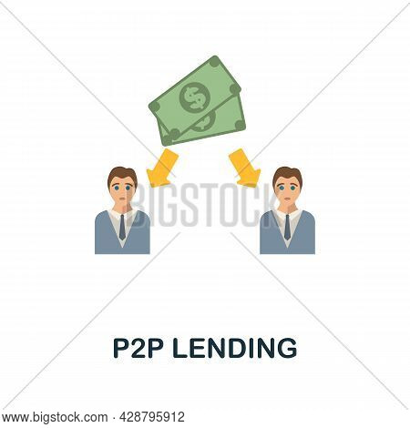 P2p Lending Flat Icon. Simple Sign From Crowdfunding Collection. Creative P2p Lending Icon Illustrat