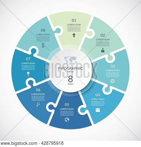 Vector Infographic Puzzle Circular Template. Cycle Diagram With 8 Parts, Options. Can Be Used For Ch