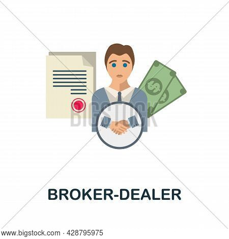Broker-dealer Flat Icon. Simple Sign From Crowdfunding Collection. Creative Broker-dealer Icon Illus