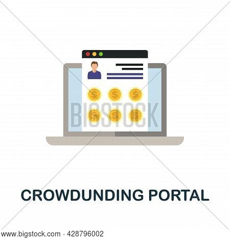 Crowdunding Portal Flat Icon. Simple Sign From Crowdfunding Collection. Creative Crowdunding Portal
