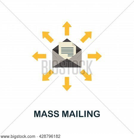Mass Mailing Flat Icon. Simple Sign From Crowdfunding Collection. Creative Mass Mailing Icon Illustr