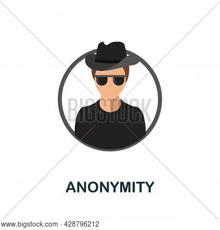 Anonymity Flat Icon. Colored Sign From Cryptocurrency Collection. Creative Anonymity Icon Illustrati
