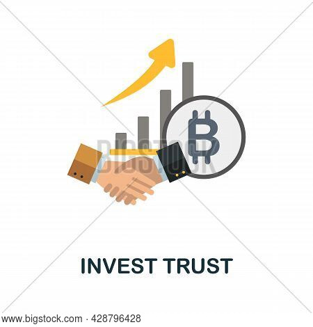 Invest Trust Flat Icon. Colored Sign From Cryptocurrency Collection. Creative Invest Trust Icon Illu