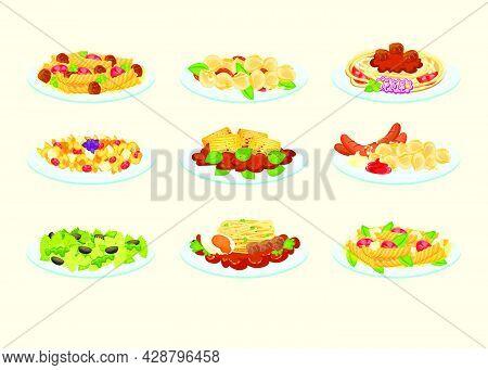 Various Pastas Served On Plates Vector Illustration Set. Cartoon Lasagna, Tagliatelle Bolognese, Noo