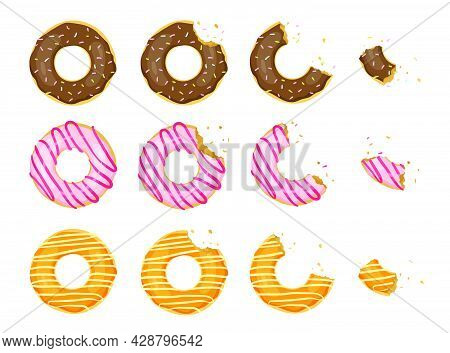 Whole And Bitten Donuts Flat Vector Illustration Set. Top View Of Doughnuts With Chocolate And Straw