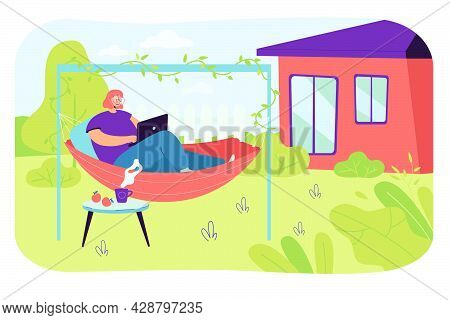 Young Woman Relaxing In Hammock In Backyard. Flat Vector Illustration. Girl Resting In Home Garden,
