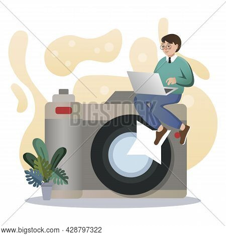 Photography. Isolated Flat Style Colored Illustration. School Lessons. Training Photos.