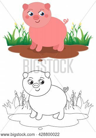 Cute Coloring Piglet In The Mud, Isolated Cartoon Vector Illustration For Children