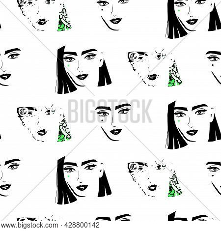 Women Art Abstract Faces Glam Style In Black And White Seamless Vector Pattern.