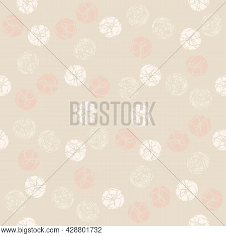 Monochrome Marble Effect Circles Vector Seamless Pattern Background. Marbling Stencil Style Circle R
