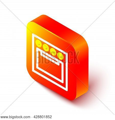 Isometric Line Oven Icon Isolated On White Background. Stove Gas Oven Sign. Orange Square Button. Ve