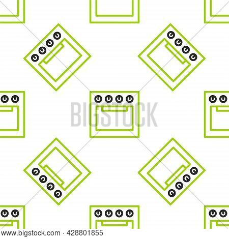 Line Oven Icon Isolated Seamless Pattern On White Background. Stove Gas Oven Sign. Vector