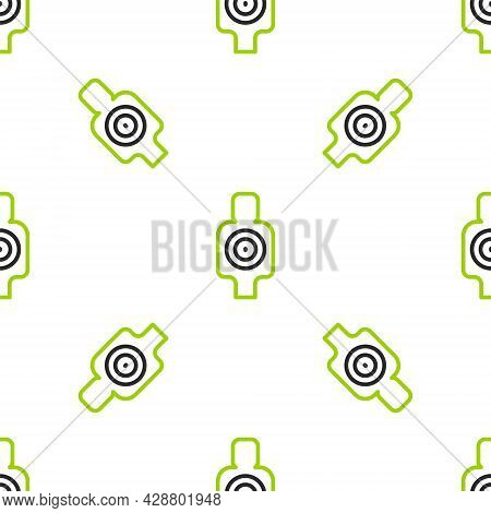 Line Human Target Sport For Shooting Icon Isolated Seamless Pattern On White Background. Clean Targe