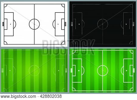 Soccer Field Illustration Set. Contains Black And White Football Pitch And Design With Green Grass A