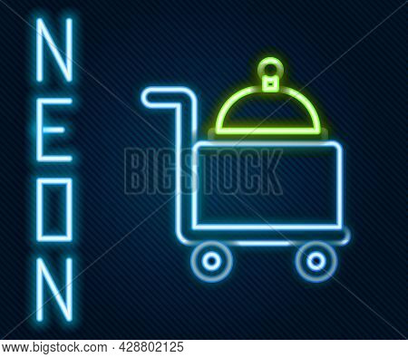 Glowing Neon Line Covered With A Tray Of Food Icon Isolated On Black Background. Tray And Lid Sign.