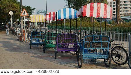 Mui Wo, Hong Kong 25 April 2021: Bicycle renting at lantau island