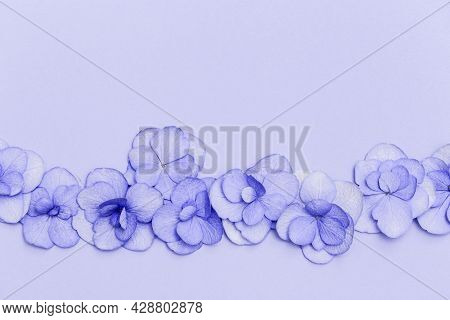 Floral Arrangement With Small Puple Hydrangea Flowers, Natural Floral Flat Lay In Summer Seasonal St