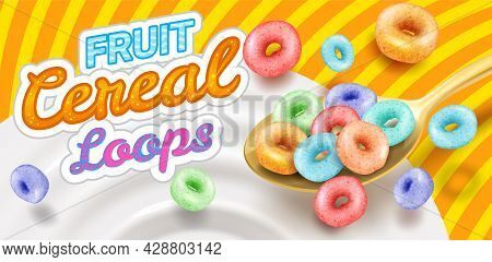 Fast Breakfast - Round Colored Cereals Flakes Falling Into Milk From Spoon, Product Packaging Mockup