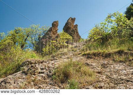 Spring Landscape With Hiking Path From Forest In Karadag Nature Reserve, Crimea, Ukraine
