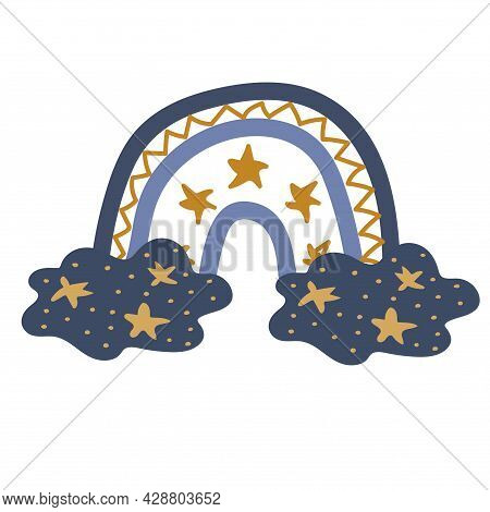 Rainbow Illustration With Clouds And Stars For Babies. Cute Design Element For Children's Room. Prin