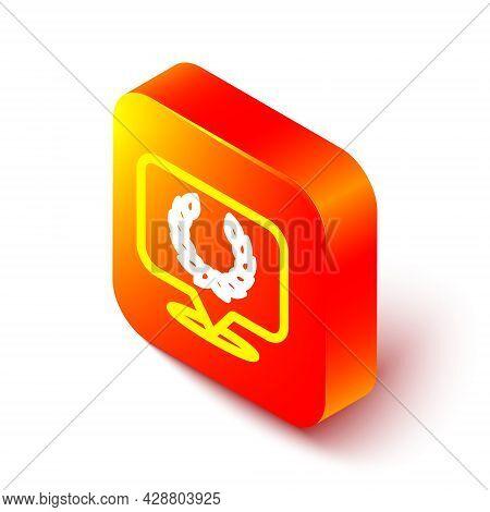 Isometric Line Laurel Wreath Icon Isolated On White Background. Triumph Symbol. Orange Square Button