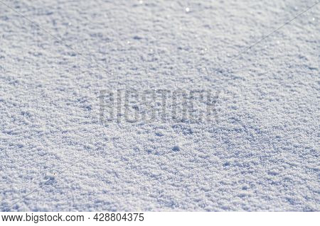 Sunny Winter And Frosty Day, Texture Of White And Clear Snow.