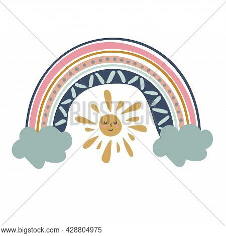 Rainbow Illustration With Clouds And Sun For Babies. Cute Design Element For Children's Room. Printa