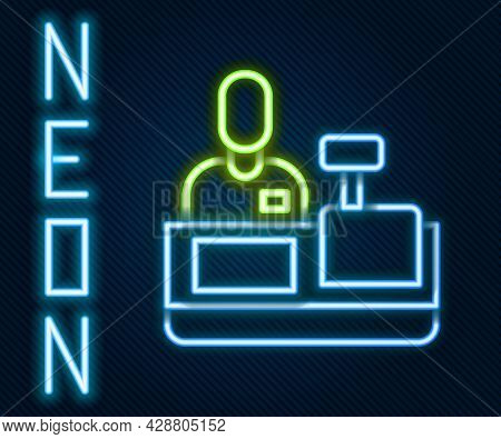 Glowing Neon Line Cashier At Cash Register Supermarket Icon Isolated On Black Background. Shop Assis