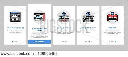Car Factory Production Onboarding Mobile App Page Screen Vector. Car Factory Equipment And Conveyor