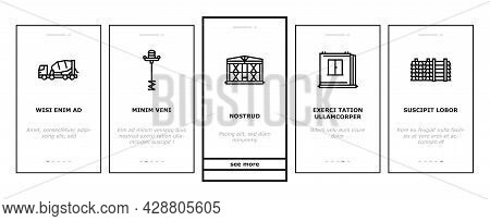 Concrete Production Onboarding Mobile App Page Screen Vector. Road And Foundation Concrete, Cement B