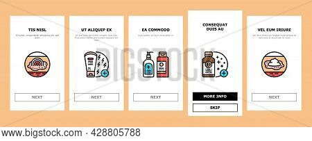 Eczema Disease Treat Onboarding Mobile App Page Screen Vector. Nummular And Neurodermatitis Eczema T