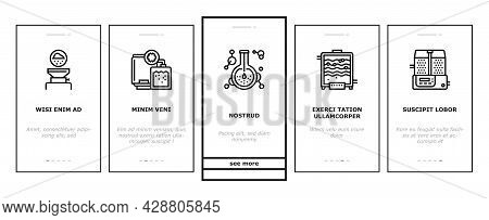 Pharmaceutical Production Factory Onboarding Mobile App Page Screen Vector. Laboratory Manufacturing