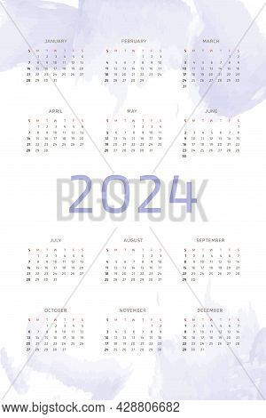2024 Calendar Template On Lilac Purple Hand Drawn Background With Watercolor Brush Strokes. Calendar