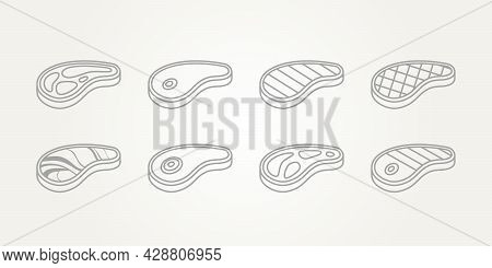 Set Of Raw Meat And Grilled Beef Steak Line Art Icons Template Vector Illustration Design. Simple Ba