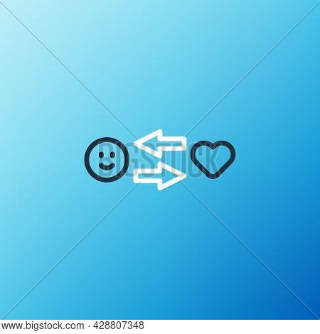 Line Romantic Relationship Icon Isolated On Blue Background. Romantic Relationship Or Pleasant Meeti