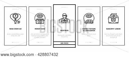 Private Detective Onboarding Mobile App Page Screen Vector. Detective Job For Protection Of Intellec
