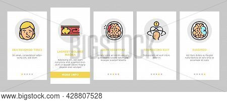 Stroke Health Problem Onboarding Mobile App Page Screen Vector. Surgical Operation Brain Stroke Trea