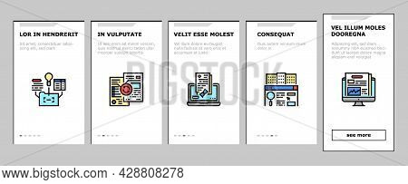 Business Finance Audit Onboarding Mobile App Page Screen Vector. Comparative Analysis And Tax Accoun