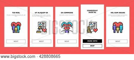 Child Adoption Care Onboarding Mobile App Page Screen Vector. Child Adoption Cost And Schedule Consu
