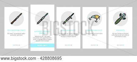 Fishing Shop Products Onboarding Mobile App Page Screen Vector. Bait Cast Reel With Monofilament Lin