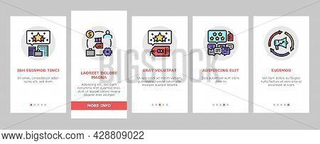 Reputation Management Onboarding Mobile App Page Screen Vector. Social Media And Brand Ambassador, C