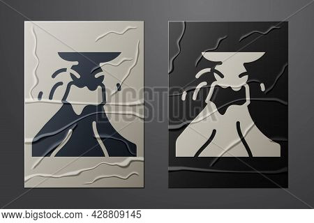 White Volcano Eruption With Lava Icon Isolated On Crumpled Paper Background. Paper Art Style. Vector