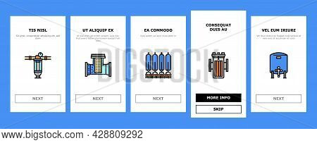 Water Filter Equipment Onboarding Mobile App Page Screen Vector. Industrial And Home Water Filter To