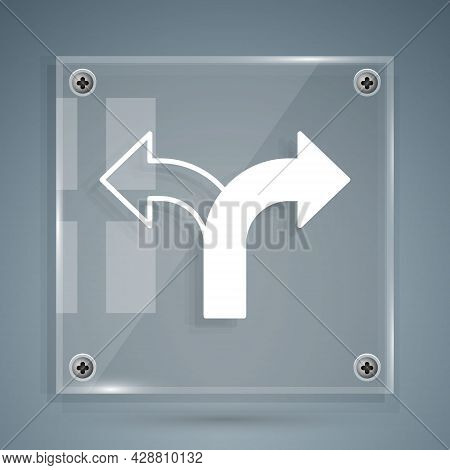 White Road Traffic Sign. Signpost Icon Isolated On Grey Background. Pointer Symbol. Isolated Street