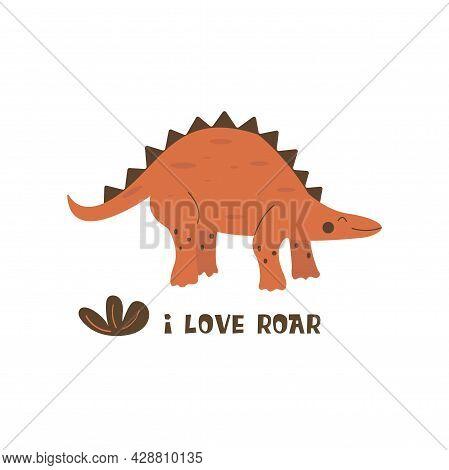 Stegosaurus Dinosaur. Large Herbivore, Extinct Ancient Lizard With Thorns On Back, Jurassic Period.