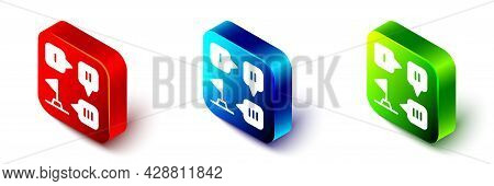 Isometric Planning Strategy Concept Icon Isolated On White Background. Formation And Tactic. Red, Bl
