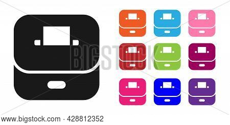 Black Vote Box Or Ballot Box With Envelope Icon Isolated On White Background. Set Icons Colorful. Ve