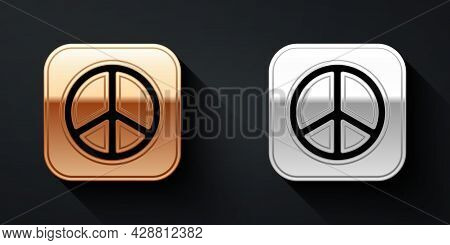 Gold And Silver Peace Icon Isolated On Black Background. Hippie Symbol Of Peace. Long Shadow Style.