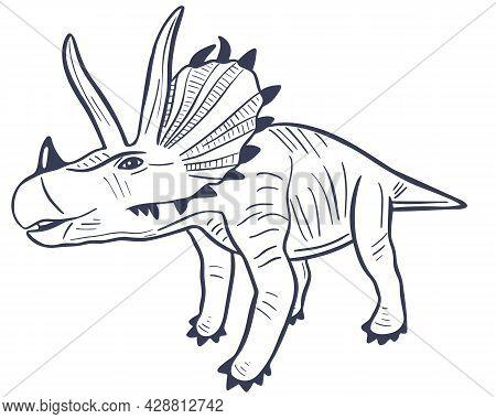 Sketch Dinosaur Triceratops Vector Illustration. Natural Prehistoric Extinct Animal Of The Jurassic